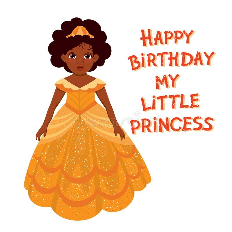 Happy birthday cute fairy girl with dark skin royalty free illustration
