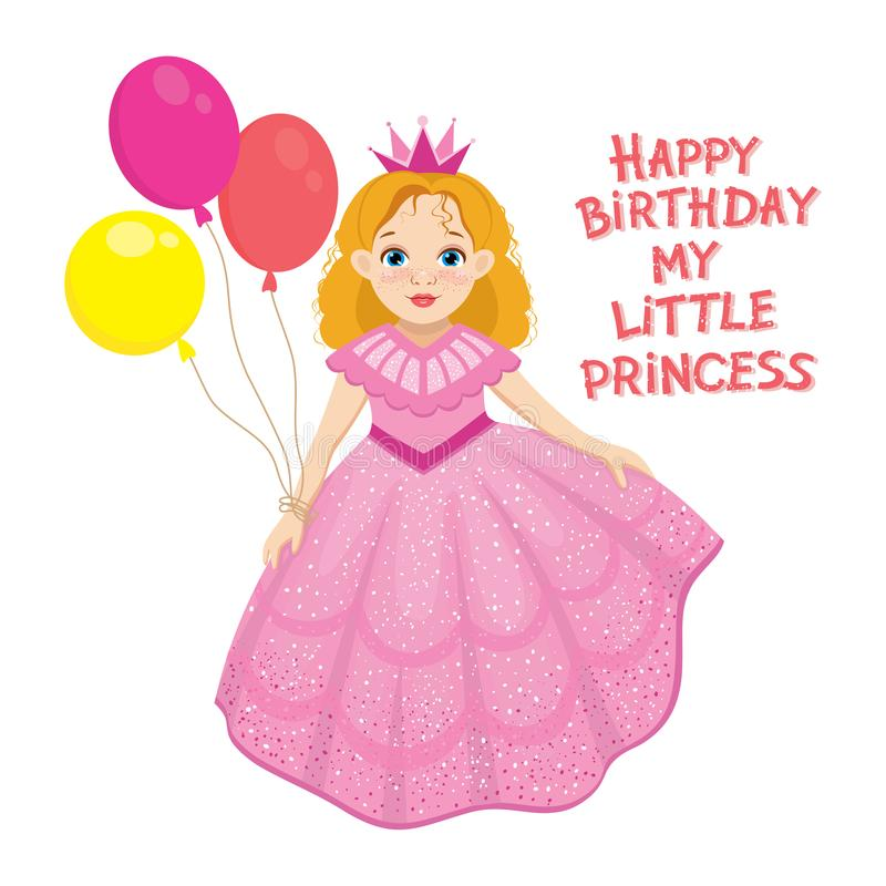 Happy birthday cute fairy girl greeting card with colorful balloon. vector illustration