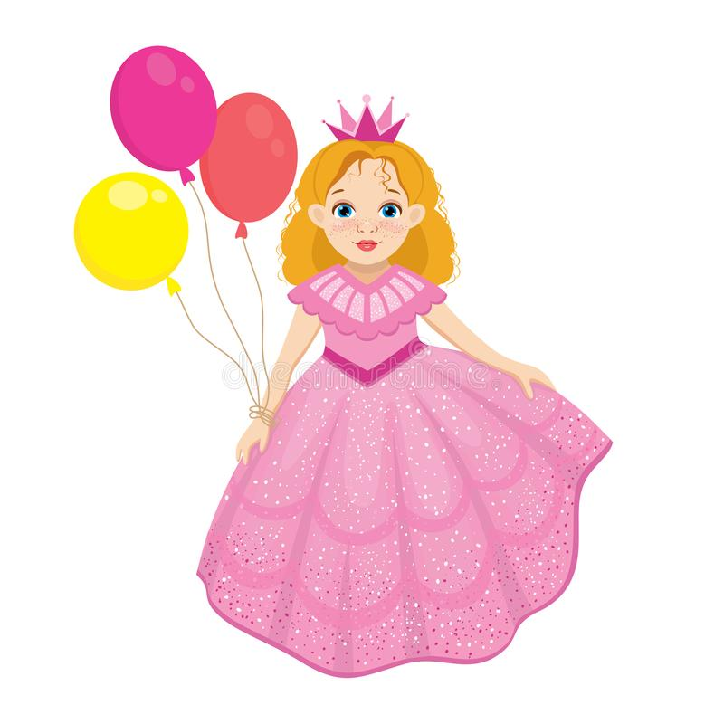 Happy birthday cute fairy girl greeting card with colorful balloon stock illustration