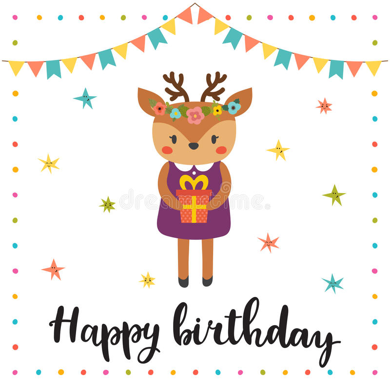 Happy birthday cute greeting card with funny little deer stock download happy birthday cute greeting card with funny little deer stock vector illustration of bookmarktalkfo Image collections
