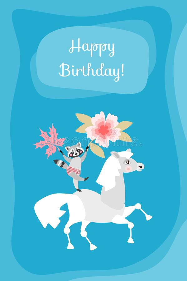 Happy birthday! Cute greeting card with raccoon on horse royalty free illustration