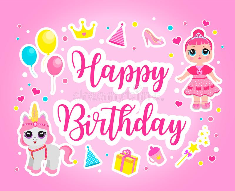 Happy birthday cute greeting or invitation card for a little princess stock illustration