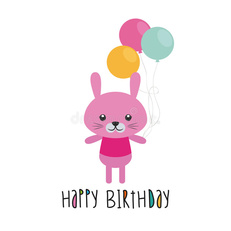 Happy birthday. Cute rabbit with balloons on a white background stock illustration