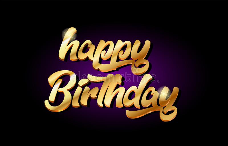 happy birthday 3d gold golden text metal logo icon design handwritten typography royalty free illustration