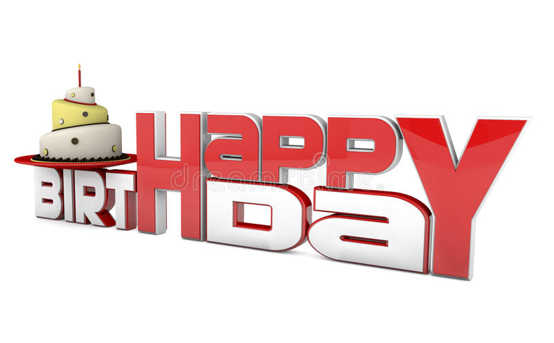 Happy birthday. 3d picture with birthday cake. cake with candle and red and white text vector illustration