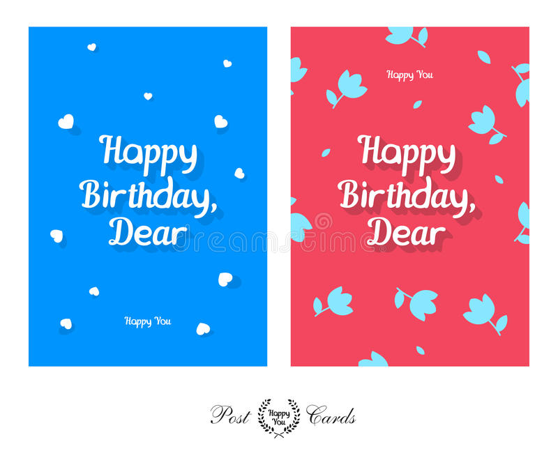 Happy Birthday Dear Tender And Cute Greeting Design Post Card Stock