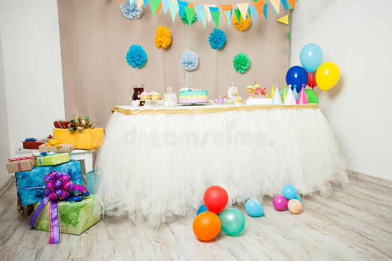Happy Birthday decoration. Decorated table in the room for Happy Birthday Party without people royalty free stock images