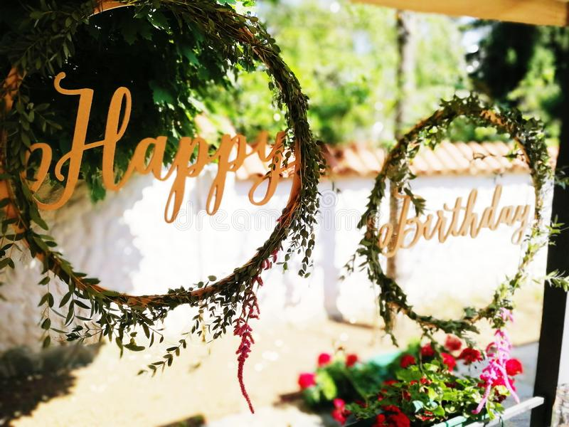 Happy birthday decoration table event decor flower spring summer stock image