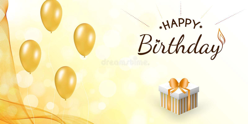 Happy birthday design with balloon, wavy veil. royalty free illustration