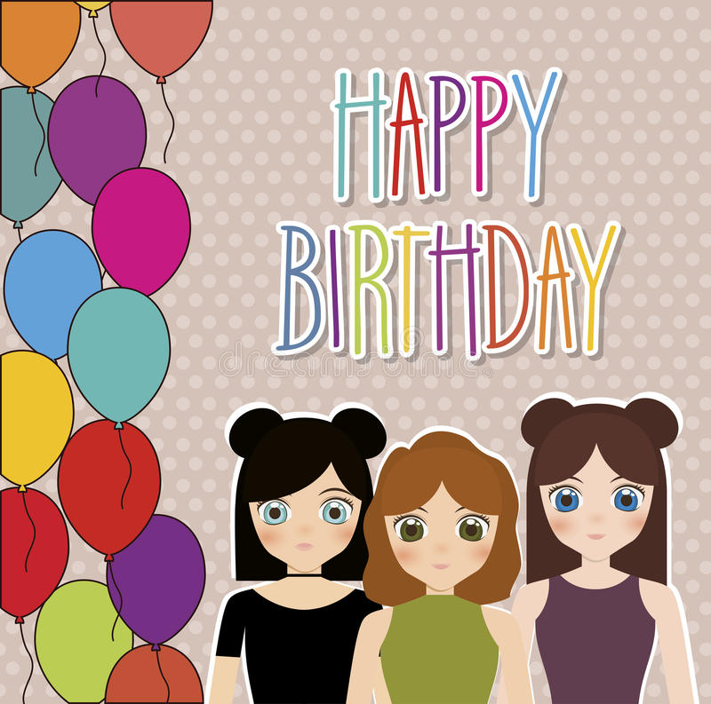 Happy Birthday Design Stock Illustration Illustration Of Woman