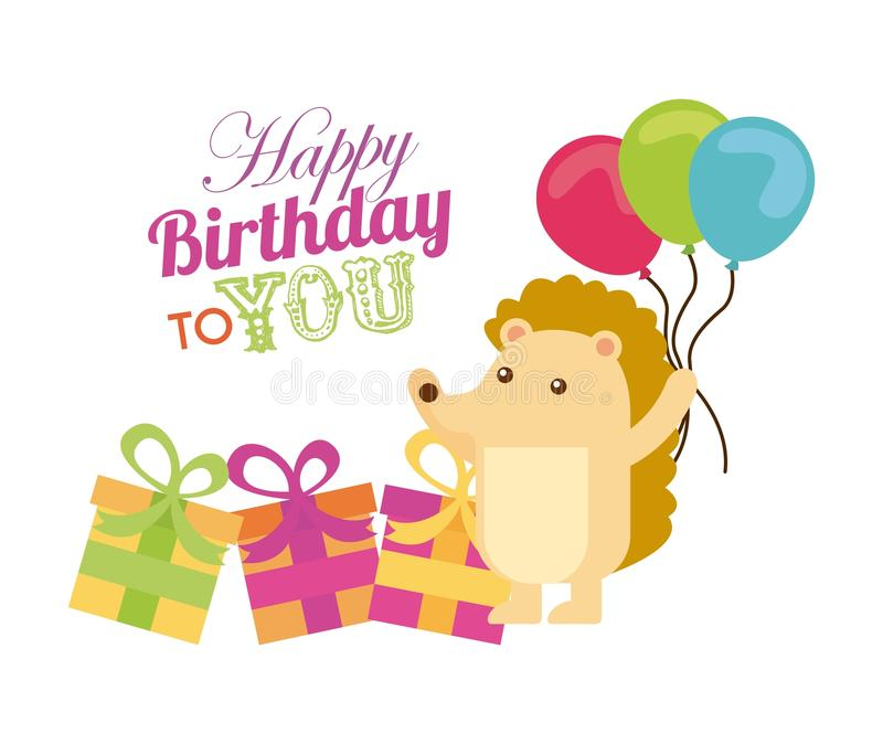 Happy birthday design. Happy birthday card with cute hedgehog holding balloons and gift boxes over white background. colorful design. vector illustration royalty free illustration