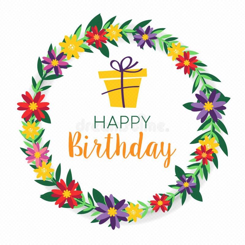 Happy Birthday spring flower wreath greeting card vector illustration