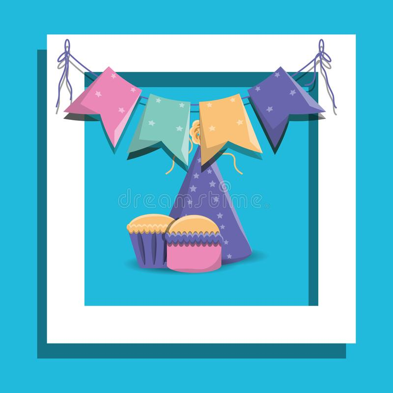 Happy birthday design. Decorative frame with Birthday cupcakes and party hat icon over blue background, colorful design vector illustration stock illustration