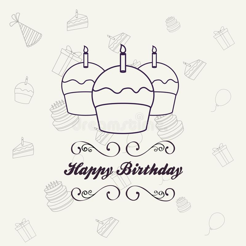 Happy birthday design. Design of happy birthday card with cupcakes icon over white background, colorful design vector illustration vector illustration