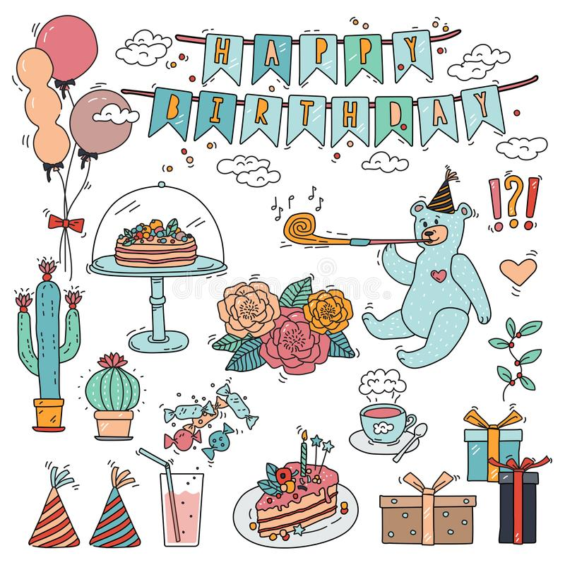 Happy birthday design elements collection with doodle style colorful vector illustration drawings. stock illustration
