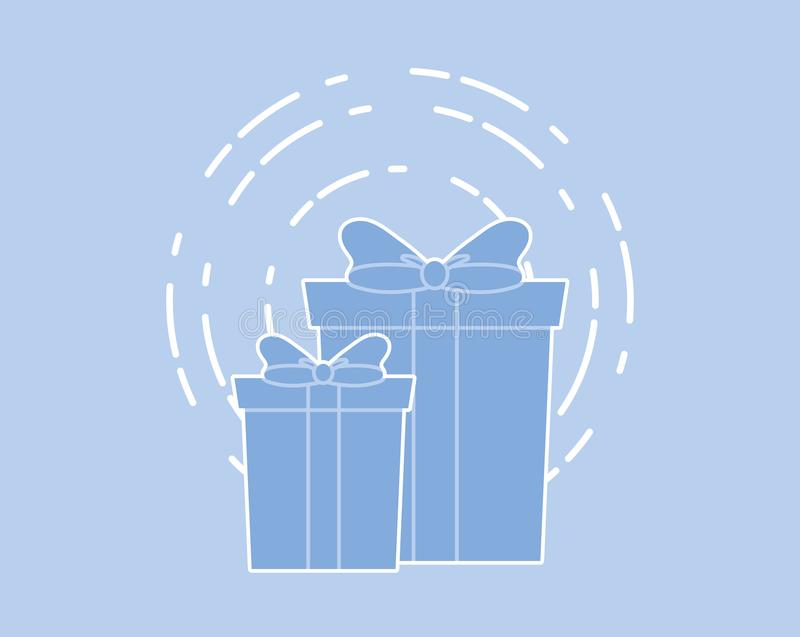 Happy birthday design. With gift boxes icon over blue background, vector illustration royalty free illustration