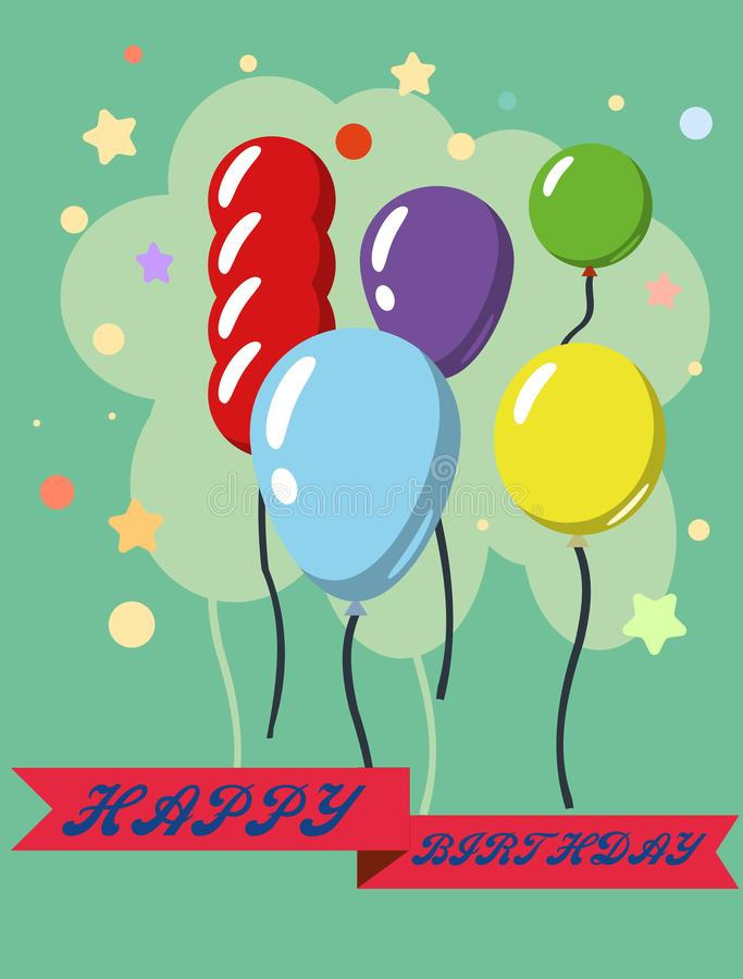 Happy Birthday  design greeting cards with balloon, confetti , design template for birthday celebration. Happy Birthday greeting cards with balloon, confetti stock illustration