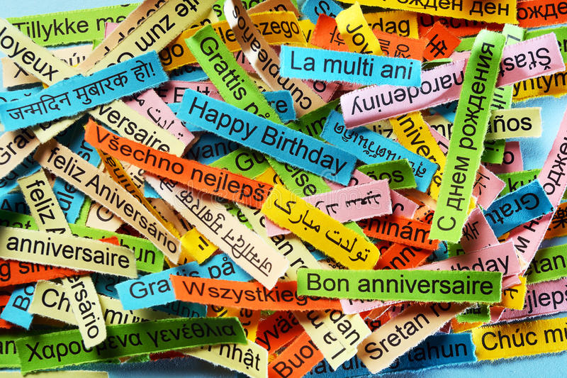 Happy Birthday Feliz Cumpleaños Bon Anniversaire ~ Happy birthday on different languages stock photo image of french