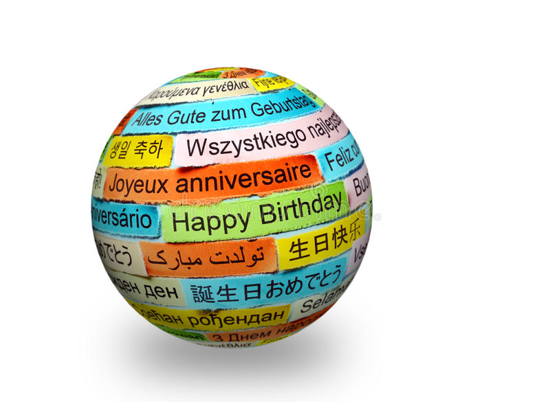 Happy Birthday in different languages on 3d sphere stock photo