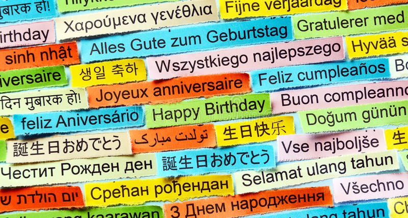 Happy Birthday on different languages stock photo