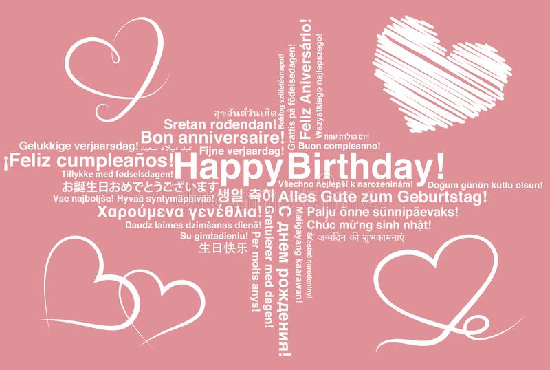 Happy Birthday in different languages wordcloud greeting card. With heart shapes stock illustration