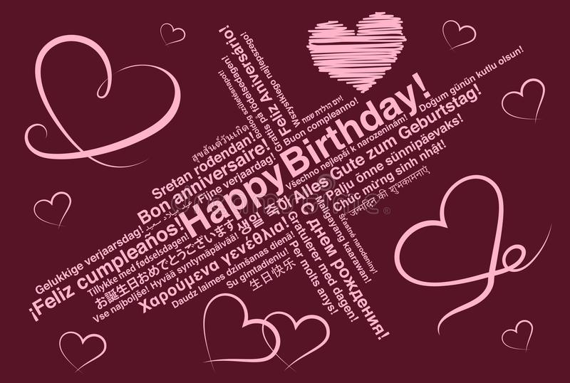 Happy Birthday in different languages wordcloud greeting card with heart shapes royalty free illustration