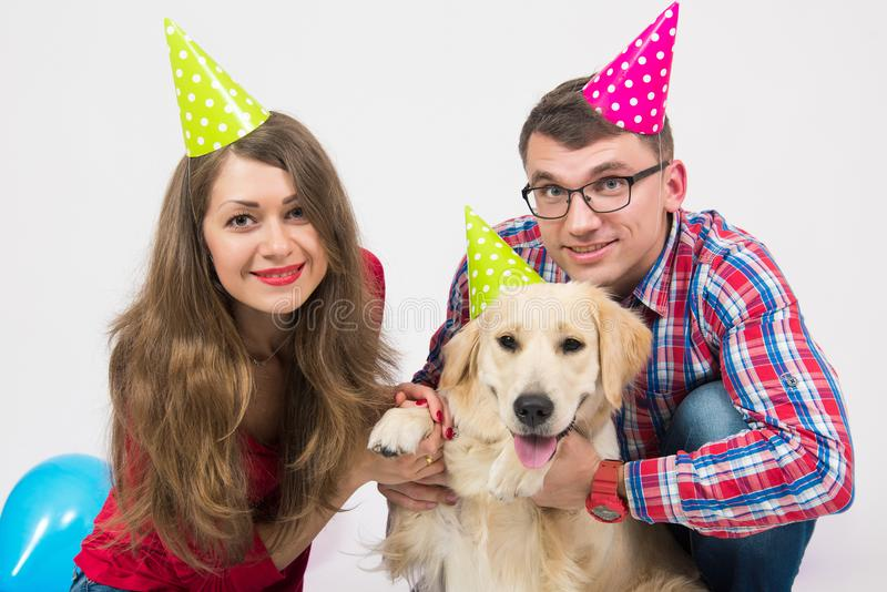 Happy birthday dog with people in studio royalty free stock image