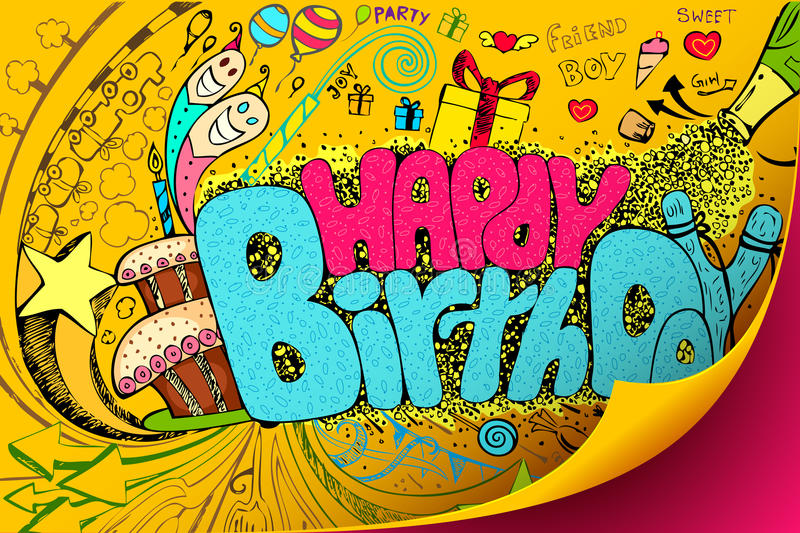 Happy Birthday Doodle royalty free illustration