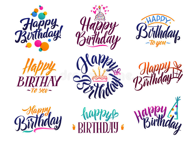 Happy birthday elegant brush script text. Vector type with hand drawn letters vector illustration