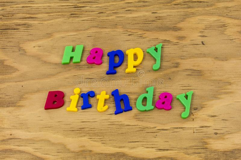 Happy birthday family color sign greeting plastic. Text fun colored celebration background royalty free stock image