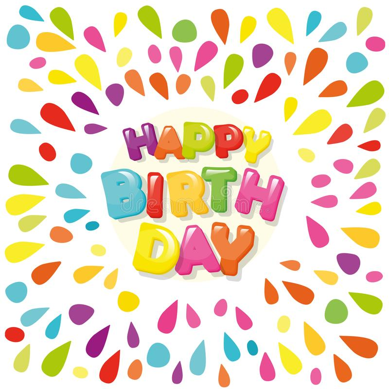 Happy birthday festive banner. Cartoon letters and colorful paint splashes. Vector stock illustration