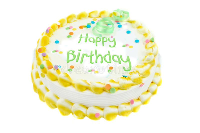 Happy birthday festive cake. Happy birthday writtin on a white and yellow frosted festive cake stock image