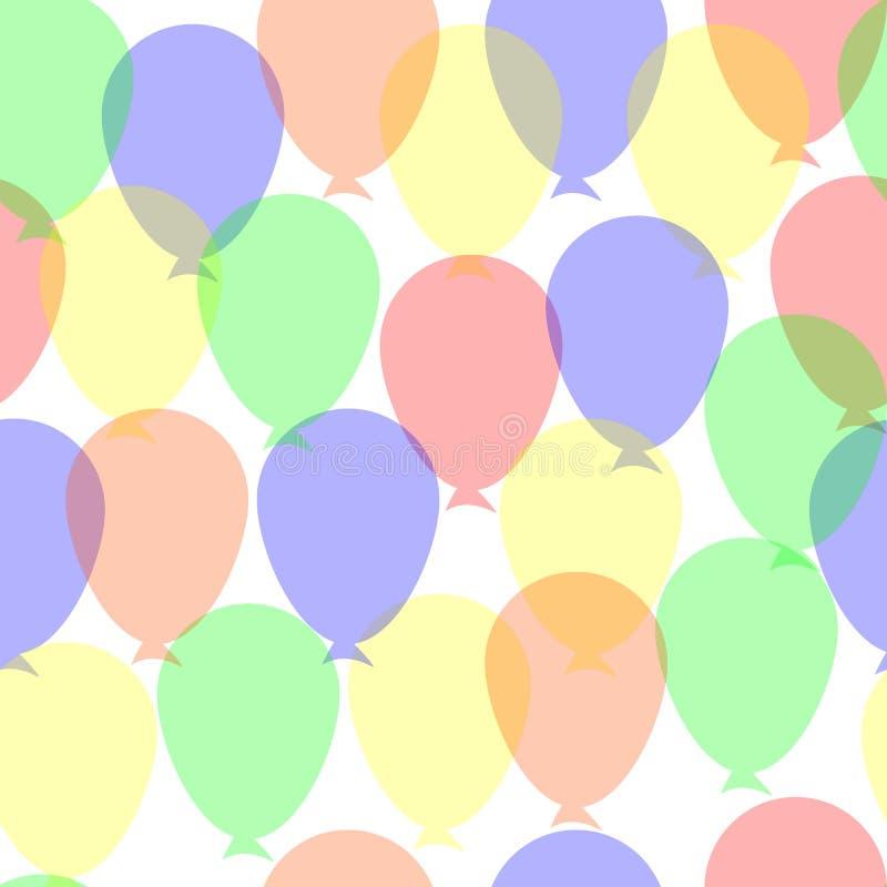 Happy Birthday Flat Colorful Balloons Seamless Pattern. royalty free illustration
