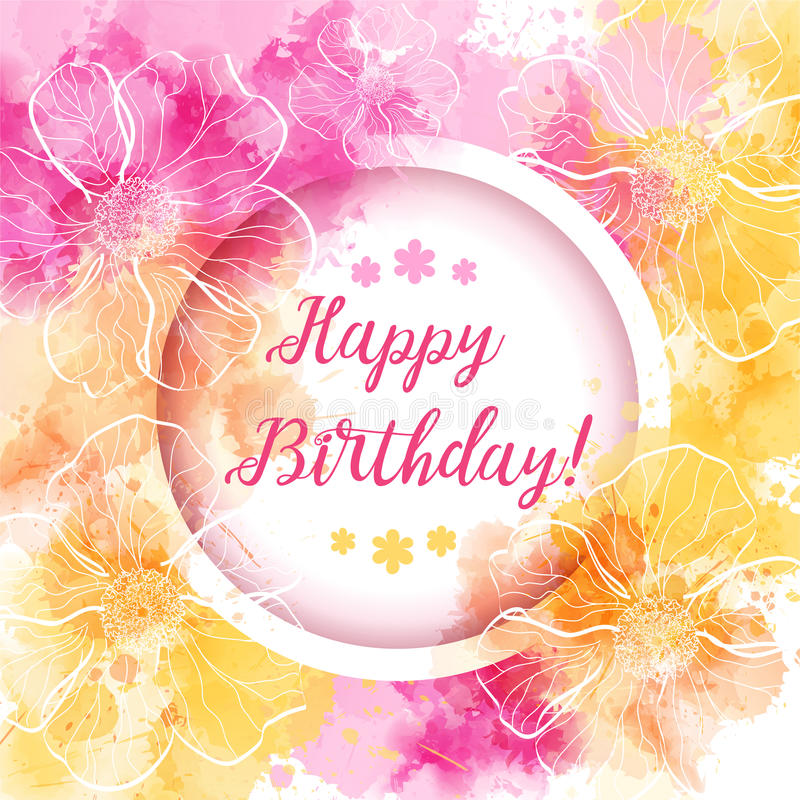 Happy Birthday floral backgound stock illustration