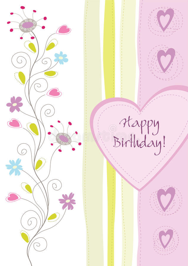 Happy birthday floral greeting card. This image is an illustration royalty free illustration