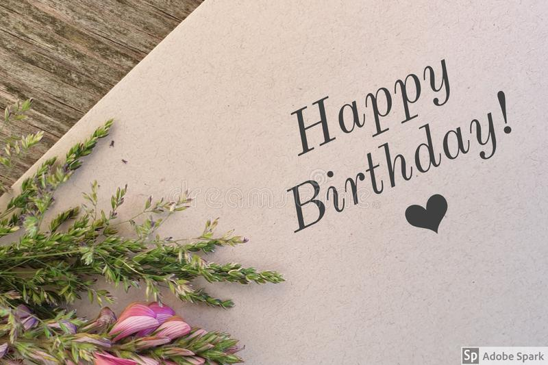 Happy Birthday. Flower card congratulations stock photography