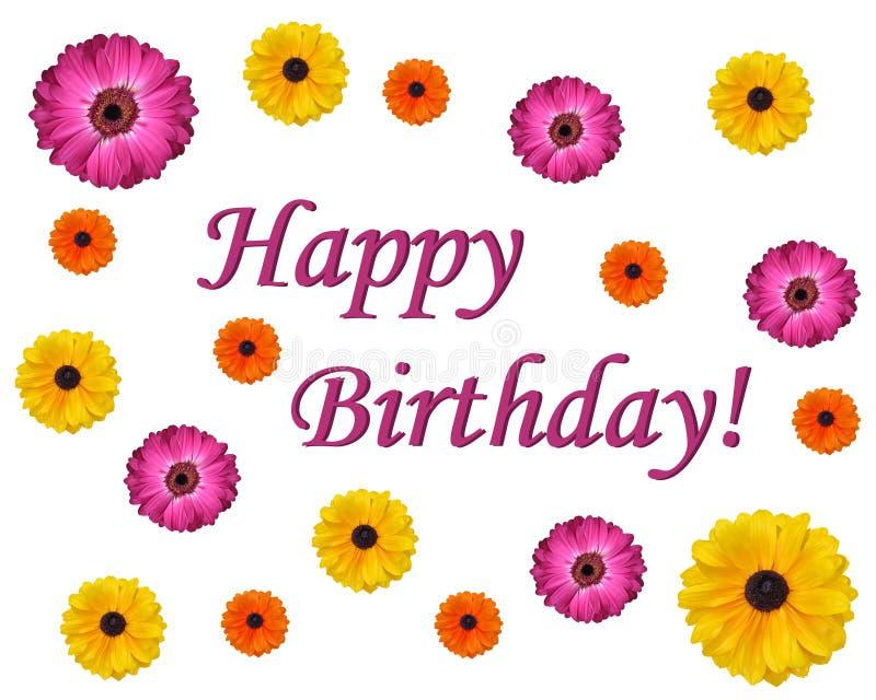 Happy Birthday Flower Design Card. Festive Happy Birthday Flower Design Card royalty free stock photo