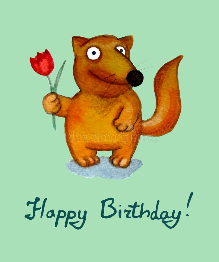 Birthday greeting card. Fox character vector illustration