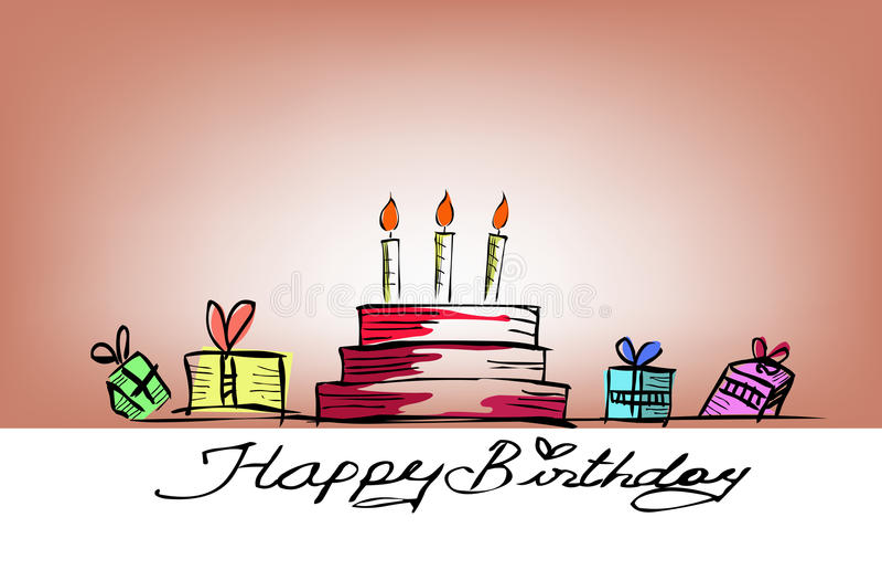 Download Happy birthday stock illustration. Illustration of handdrawing - 42264608