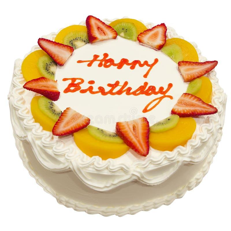 Happy Birthday Fresh Fruit Cake. Isolated on White Background royalty free stock photography