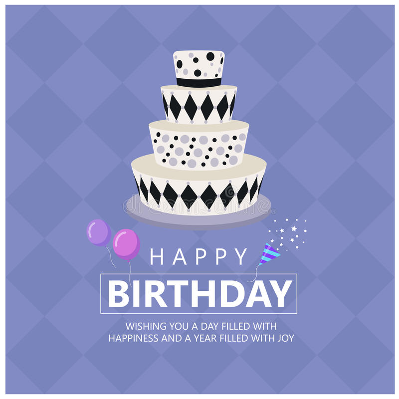 Happy birthday with Funky cake and Greetings text on soft purple Diamond background vector design stock illustration