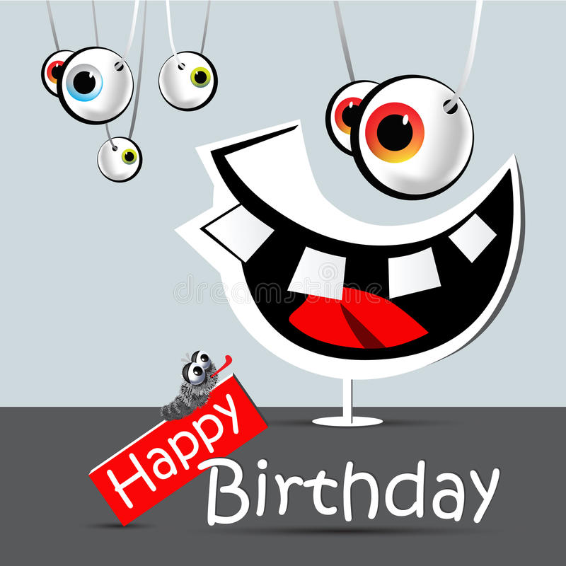 Happy Birthday Funny Card Smile And Eyes Stock Illustration