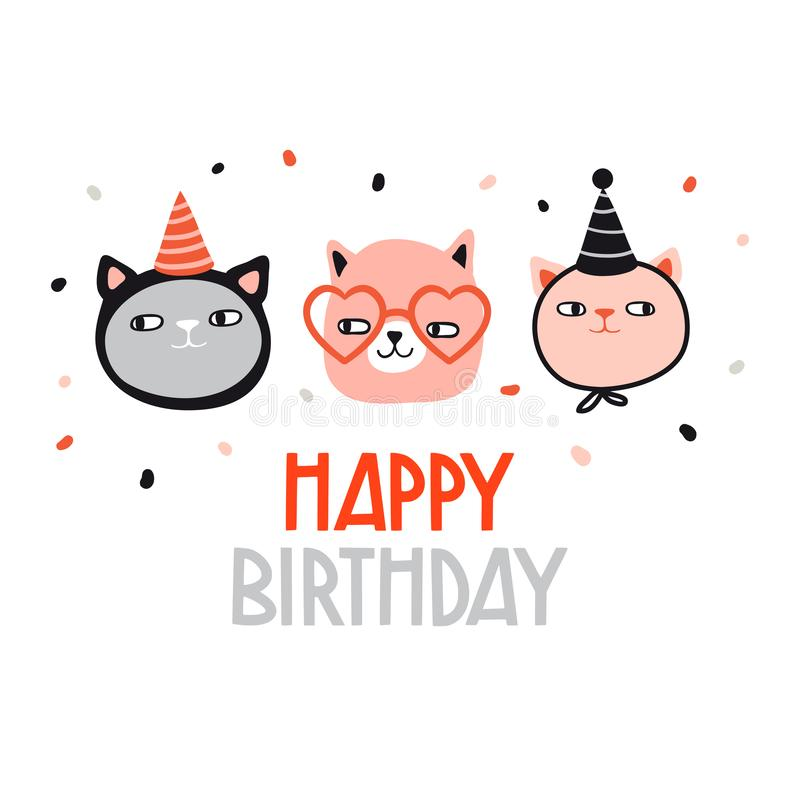 Happy birthday. Funny cats in holiday hat royalty free illustration
