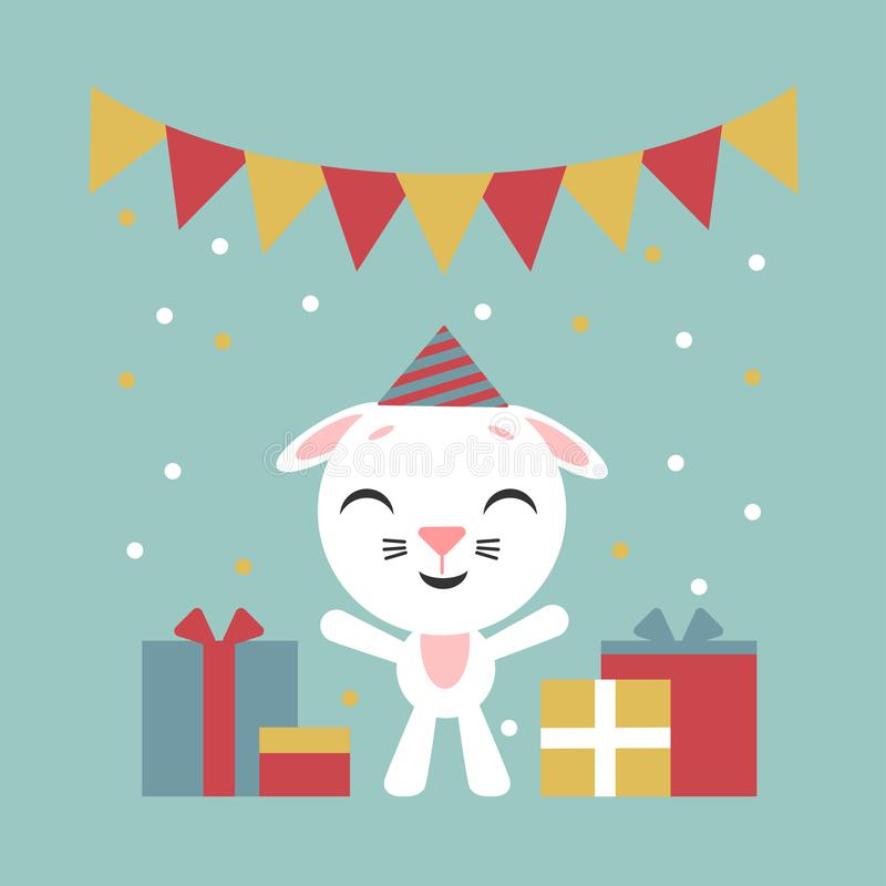 Happy birthday. Funny little rabbit. Cartoon bunny with gift boxs. Vector illustration. Flat style design for web, site, greeting royalty free illustration