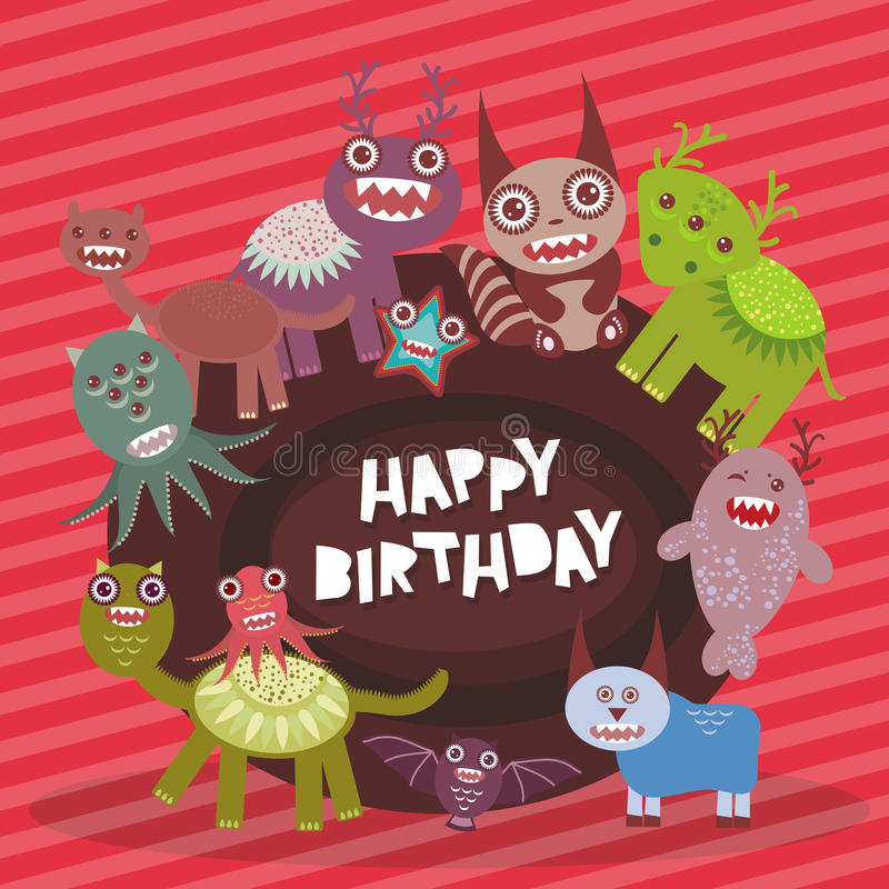 Happy birthday Funny monsters party card design on pink striped background. Vector stock illustration