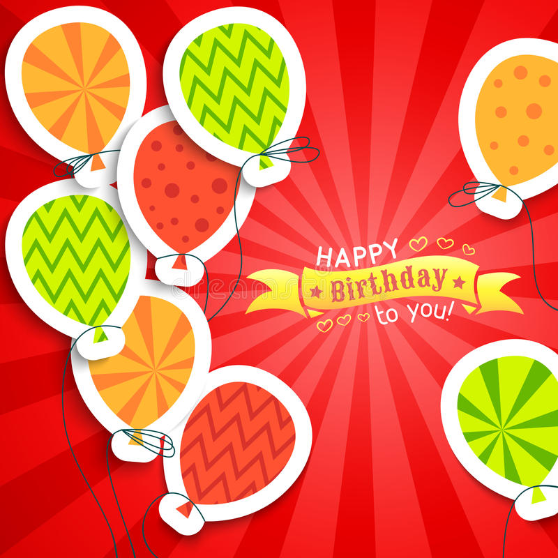 Happy birthday funny postcard with balloons. royalty free illustration