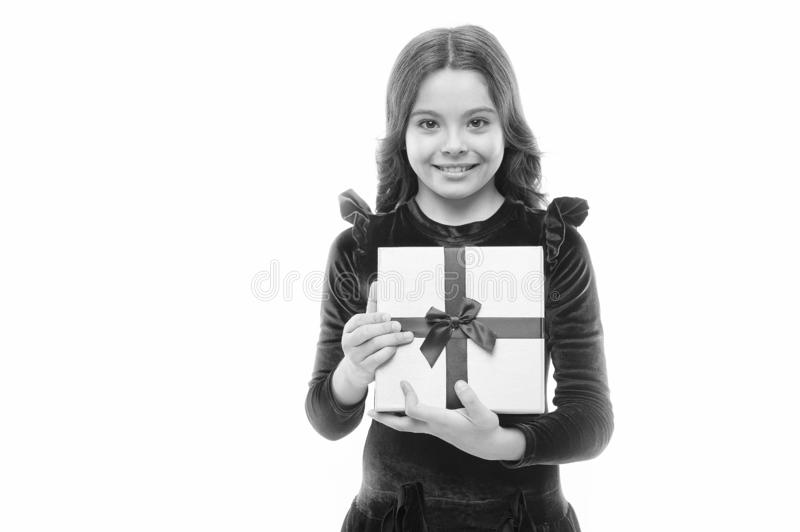 Happy birthday gift. big sale in shopping mall. Boxing day. small girl after shopping. Little girl with present box. Copy space. Home shopping. Own business royalty free stock photo