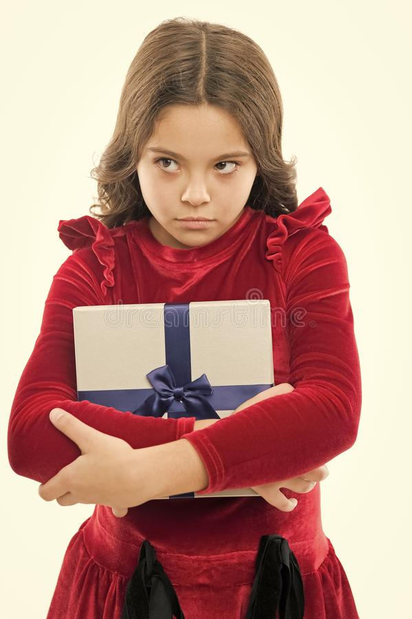Happy birthday gift. big sale in shopping mall. Boxing day. unhappy small girl after shopping. Little girl with present. Box. Perfect day. Pleasant shopping stock photo