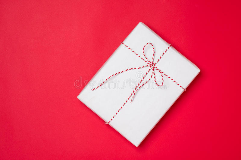 Happy birthday and gift box on red background stock images