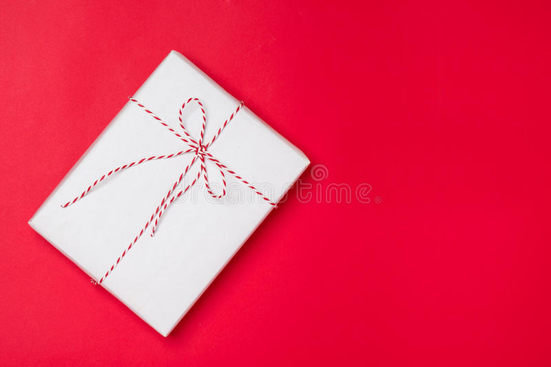 Happy birthday and gift box on red background royalty free stock images